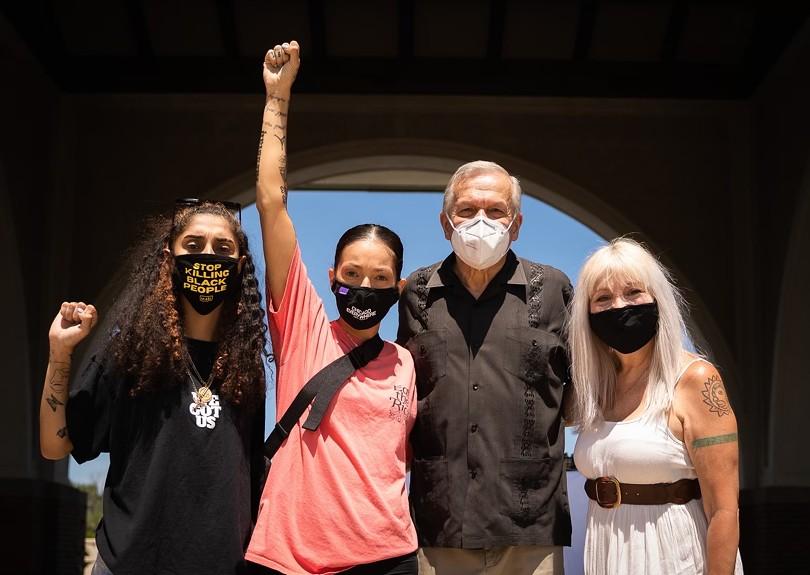 Daysha del Valle, Tanya Lozano, Jose Lopez, and Emma Lozano at the Survival Day event - COURTESY TANYA LOZANO