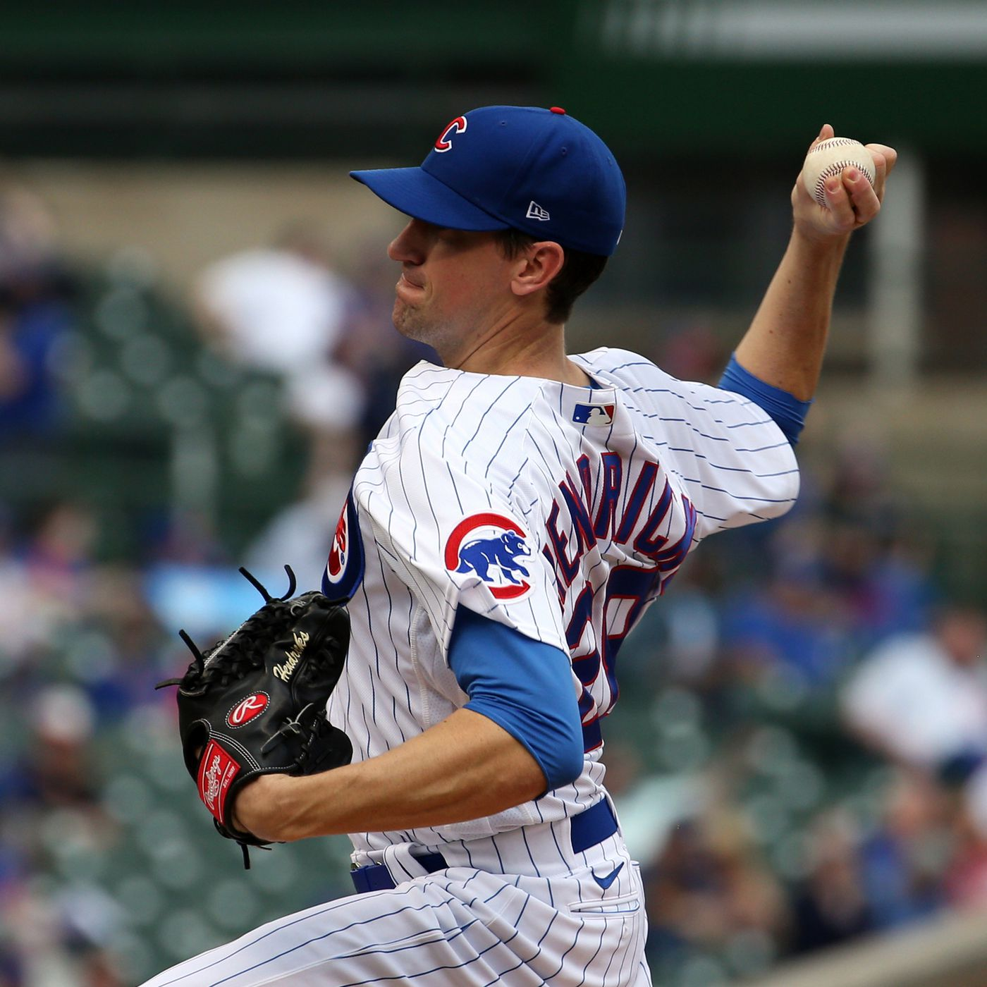 Cubs starter Kyle Hendricks delivers a pitch against the Brewers on April 7, 2021, at Wrigley Field.