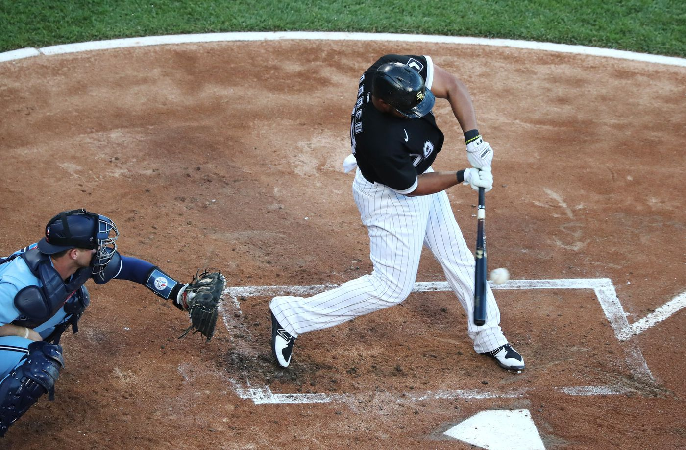 White Sox first baseman José Abreu connects for an RBI double against the Blue Jays in the first inning on June 10, 2021, at Guaranteed Rate Field.