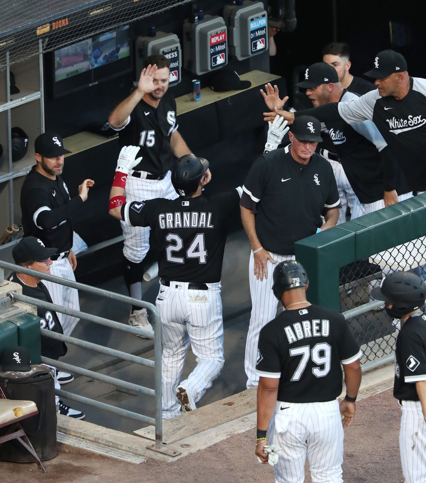 White Sox catcher Yasmani Grandal is congratulated on his two-run home run in the first inning against the Blue Jays on June 10, 2021, at Guaranteed Rate Field.